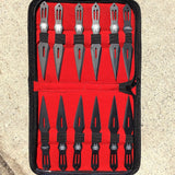 "Set of 12 Black 5.5"" Throwing Knives With Carrying Case"