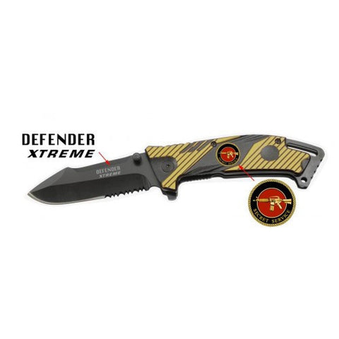 "8"" Yellow & Black Folding Spring Assisted Knife Heavy Duty Steel New w/ Gun Plate"