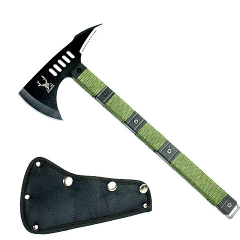 "High Quality 14.5"" TheBoneEdge Tactical Survival Axe with Sheath Black Hatchet"