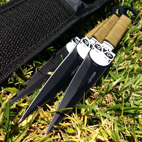 Set of 3 Throwing Knives with a Skull Design & Sheath