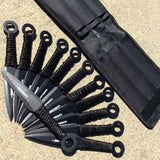 "Set of 12 Black Throwing Knives 6"" with Black Handle & Sheath"