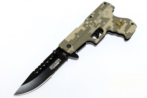 "Defender 8"" Digital Camo Gun Style Spring Assisted Hunting Knife with Belt Clip"