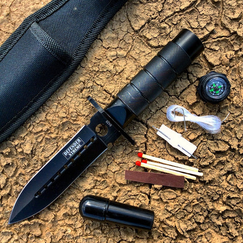 "8"" All Black Survival Knife With Survival Kit & Sheath"