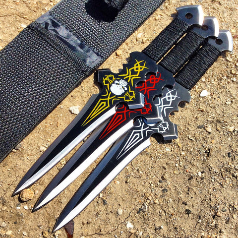 Set Of 3 Skull Design Black Throwing Knives With Sheath