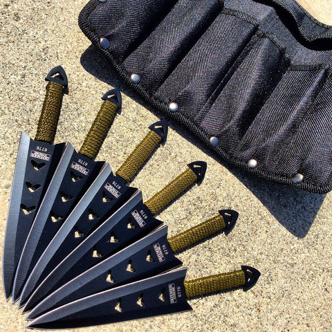 "6PC of 6.5"" Black Throwing Knives Stainless Steel Blade with Pouch"