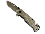 "9"" TheBoneEdge Grey Folding  Hunting Tactical Survival Knife with Belt Clip"