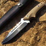 "9"" Hunting Sharp Knife Full Tang Two Tone Blade Bone Edge G10 Handle with Sheath"