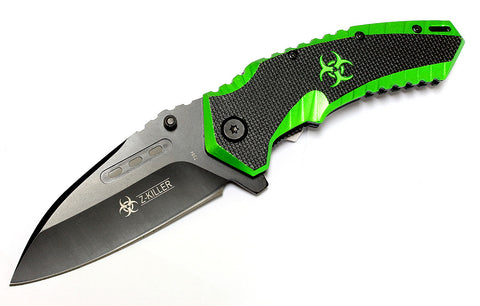 "High Quality 8"" Zombie-Killer Spring Assisted Knife Sharp Black with Belt Clip"
