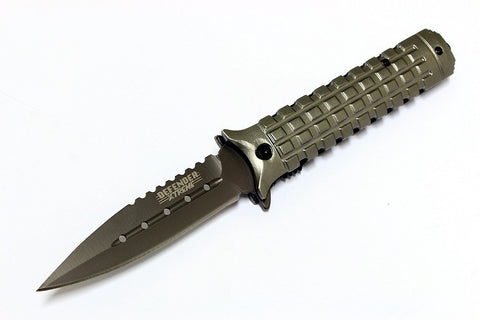 "9"" Defender Xtreme Collection Grey Folding Spring Assisted Knife  with Belt Clip"
