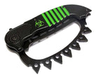 "8.5"" Zombie War Green & Black Spring Assisted Knife with Belt Clip"