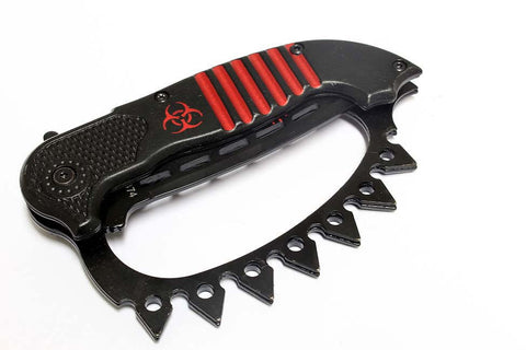 "8.5"" Zombie War Red & Black Spring Assisted Knife with Belt Clip"