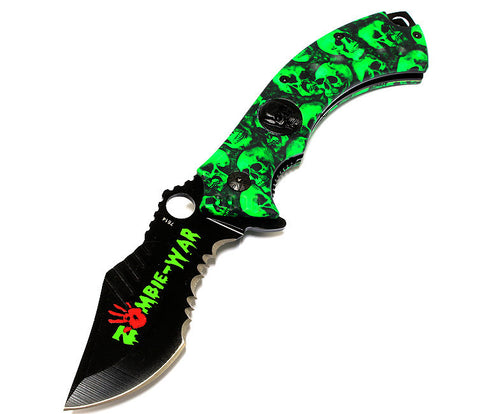 "8"" Zombie-War Skull Head Spring Assisted Knife with Belt Clip"