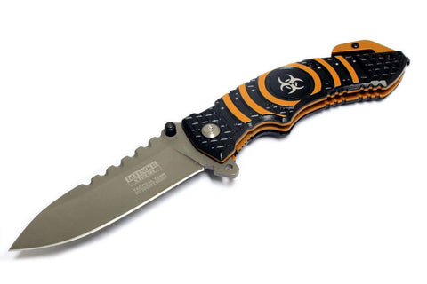 "8"" Defender Extreme Spring Assisted Knife with Belt Clip - Orange"