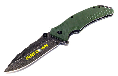 "8.5"" Hunt-Down Green Folding Spring Assisted Knife with Belt Clip"