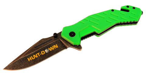 "8"" Hunt-Down Green Folding Spring Assisted Knife with Belt Clip"