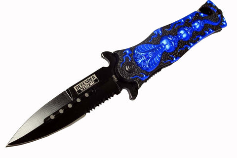 "8"" Defender Extreme Spring Assisted Cobra Skull Design Knife with Serrated Stainless Steel Blade - Blue"