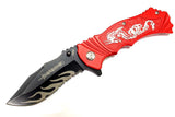 "8"" Defender Spring Assisted Knife with Serrated Stainless Steel Blade - Red"