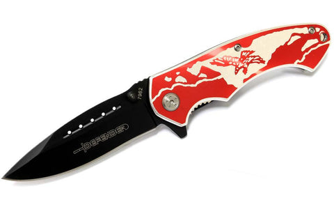 "8"" Defender Folding Spring Assisted Knife with Belt Clip - Red Eagle"