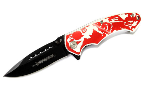 "8"" Defender Folding Spring Assisted Knife with Belt Clip - Red Wolf"
