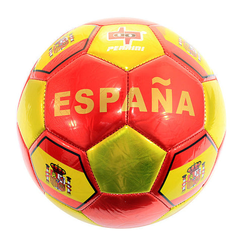 Chrome Color Spain Flag Soccer Ball Practice Official Size 5
