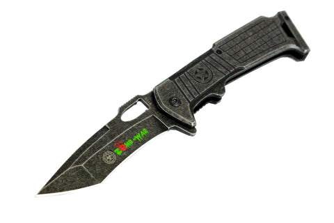 "High Quality 8.5"" Zomb-War Spring Assisted Stone Wash Blade Knife with Clip"