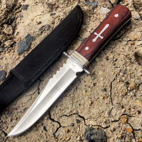 "11""  Defender-Xtreme Wood Handle Hunting Knife Full Tang Stainless Steel Blade"