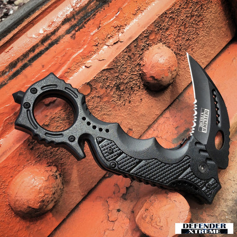 "8"" Defender-Xtreme Black Spring Assisted Knife Hunting Tactical With Belt Clip"