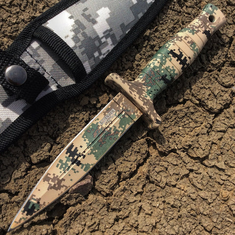 "9"" Defender-Xtreme Desert Camo  Hunting Tactical Knife with Sheath"