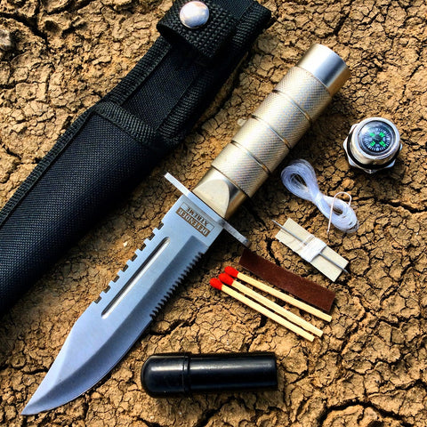 "8.5"" Heavy Duty Silver Mini Survival Knife with Sheath"