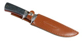 "12"" Hunt-Down Black/Brown Sporting Knife With Leather Sheath"