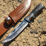 "10.5"" Hunt-Down Sporting Tactical Sharp Knife with Leather Sheath"