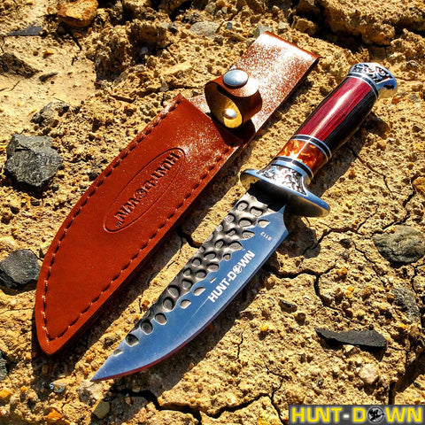 "10"" Hunt-Down Decorative Sporting Hunting Knife with Leather Sheath"