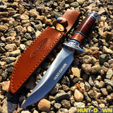 "12""Hunt-Down Fixed Blade Brown and Chrome Knife with Leather Sheath"