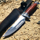 "10"" Hunt-Down Fixed Blade Knife engraved Handle and Nylon Sheath"