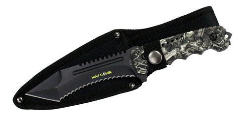 "9.5"" Hunt-Down Serrated Full-Tang Blade Hunting Knife with Gray Viper Handle"