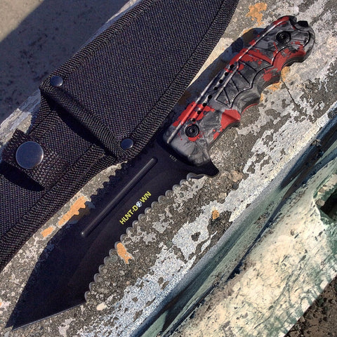 "9.5"" Hunt-Down Serrated Full-Tang Blade Hunting Knife with Red Zombie Handle"