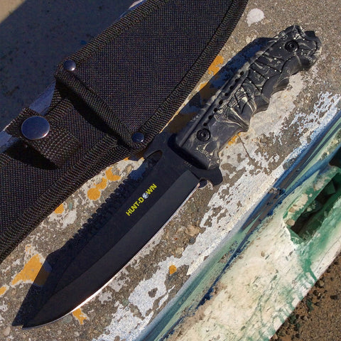 "9.5"" Hunt-Down Full-Tang Blade Hunting Tactical Knife with Gray Viper Handle"