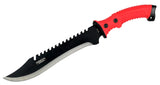 "16"" DefenderXtreme Full Tang Hunting Sharp Knife with Red/Black Rubber Handle"