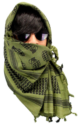 Military Lightweight Shemagh Tactical Scarf Green with Grenade Design