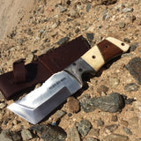 "9"" Huntdown Full Tang Hunting Knife with Wood Handle and Leather Sheath"
