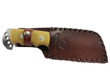 "9"" Huntdown Full Tang Hunting Knife with Weighted Handle and Leather Sheath"