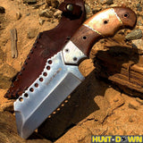 "9"" Huntdown Full Tang Hunting Knife with Brown Wood Handle and Leather Sheath"