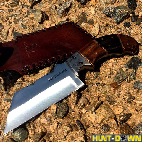 "9"" Huntdown Full Tang Tanto Blade Hunting Knife with Wood Handle and Leather Sheath"