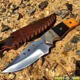 "9"" Huntdown Full Tang Drop Pointed Hunting Knife with Decorative Handle and Leather Sheath"