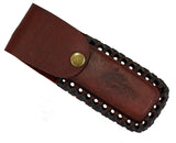 "9.5"" The Bone Edge Hand Made Red/White Razor Blade with Leather Sheath"
