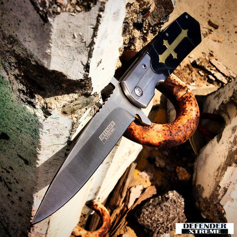 "9.5"" High Quality Defender-Xtreme Spring Assisted Knife with Blackwood Handle"