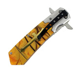 "9.5"" High Quality Defender-Xtreme Spring Assisted Knife with Amber Cross Handle"