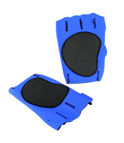 Perrini Blue Fingerless Sport Gloves with Velcro Wrist Strap
