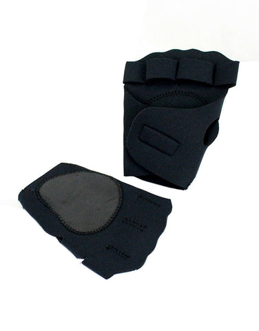Perrini Black Fingerless Sport Gloves with Velcro Wrist Strap (with Thumb Padding)