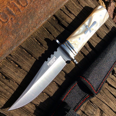"8"" Defender Xtreme Fixed Drop Point Blade and White Glossy Handle"